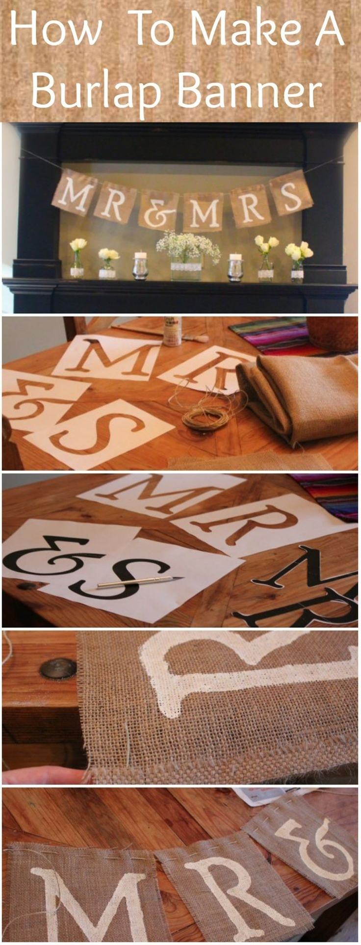 How To Make A Burlap Mr & Mrs Sign-Make on a smaller scale and hang above your wedding photos.