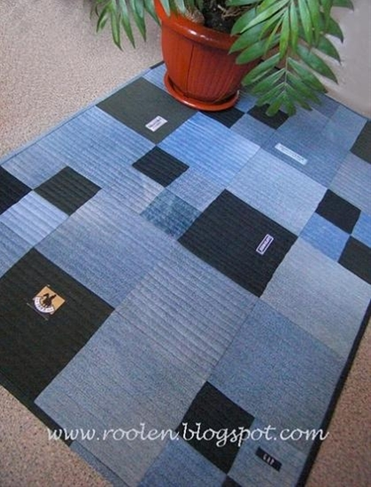 Re-purposed jeans as throw rugs!