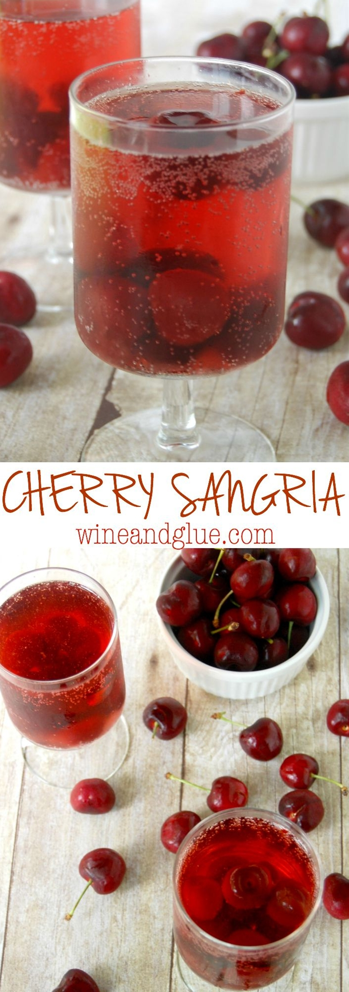 Just FOUR ingredients for this simple but irresistible Cherry Sangria!     Mix together the wine, the amaretto, and the cherries and let sit overnight. Note that this recipe actually tastes best two days past making it, though it is delicious after one night in the fridge.     Serve the sangria topped with the white soda (or club soda for a less sweet drink). I did about two parts sangria to every one part soda.