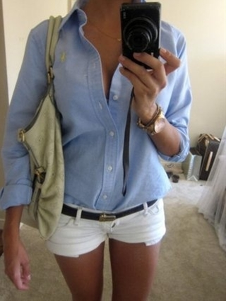 simple and cute...  think its works better with a men's blue oxford...cuts more boxy which looks cute against the shorty shorts