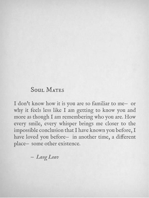 Soul Mates by Lang Leav...... doesn't have to apply imply to romantic relationships.
