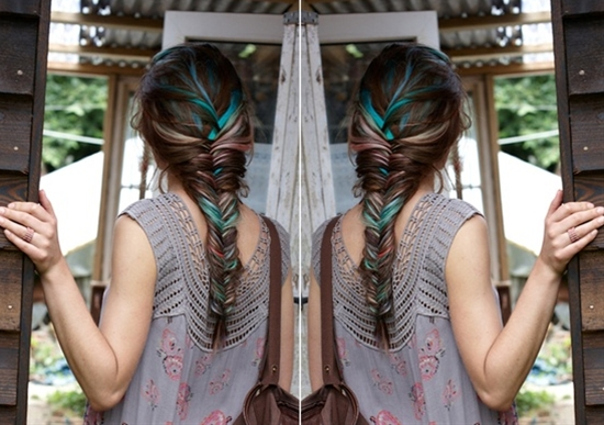 Colorful fishtail braid.  #Braid #Fishtail #Color