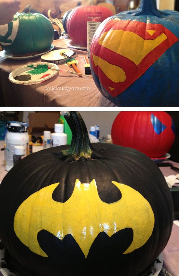 you will need... medium sized pumpkins  acrylic paints (available for about 1 dollar each at hobby lobby)  throw away foam brushes  one very small straight edge paintbrush (to make lines straight)  a light colored sharpie (unless you're really  awesome and can free-hand with paint!)  (black & silver puffy paint for spidey)