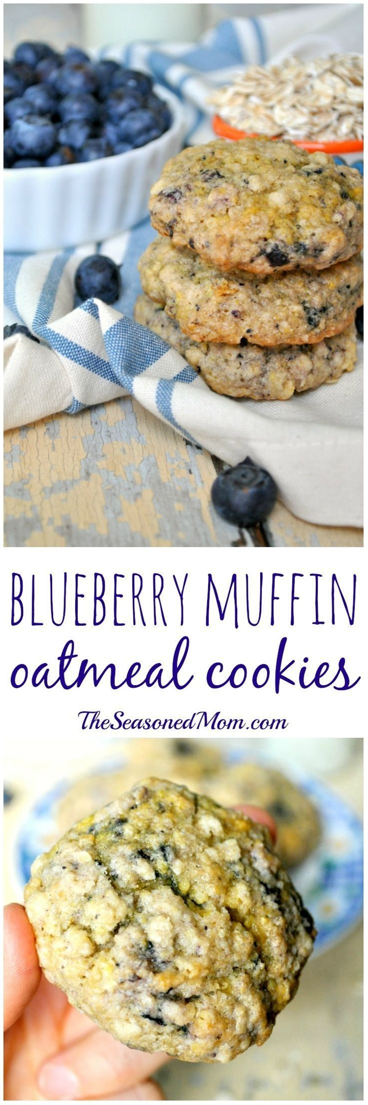 Whole grains + a boxed muffin mix = thick, soft, and chewy Blueberry Muffin Oatmeal Cookies...perfect for breakfast, snack, or even dessert!\n\n INGREDIENTS\n 1 (17.8 ounce) box blueberry muffin mix (I like Duncan Hines Simple Mornings Wild Maine Blueberry mix, which includes a can of blueberries, but any similar boxed mix will work well. If you use a mix without a can of blueberries, you can about ¼ cup - ½ cup of fresh or frozen blueberries to the mix)\n ¾ cup quick-cooking oats\n ¼ cup brown sugar\n ⅓ cup canola oil\n 1 tablespoon milk\n 2 small eggs or 1 extra large egg