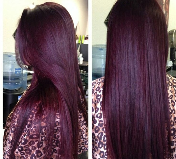 Burgundy hair color! Aubergine is a striking combination between violet and red hues