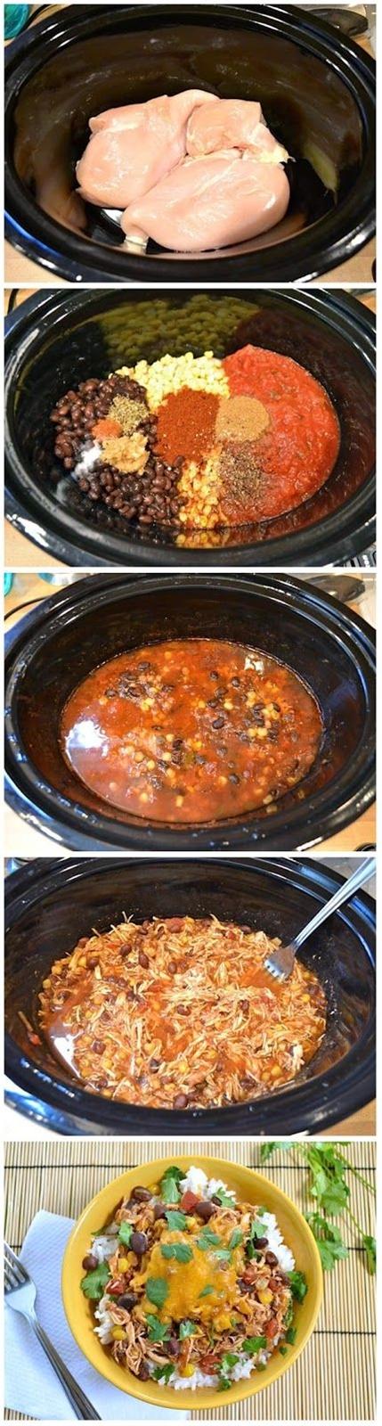 Ingredients:  1½ lbs. chicken breasts,  1 (16 oz.) jar salsa,  1 (15 oz.) can black beans, drained,  ½ lb. (8 oz.) frozen corn,  1 Tbsp chili powder,  ½ Tbsp cumin,  ½ Tbsp minced garlic,  ½ tsp dried oregano,  ¼ tsp cayenne pepper,  ¼ tsp salt,  to taste cracked pepper,  2 cups dry rice,  8 oz. shredded cheddar,  ½ bunch cilantro (optional.