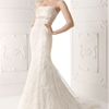 Silva strapless lace wedding dress.