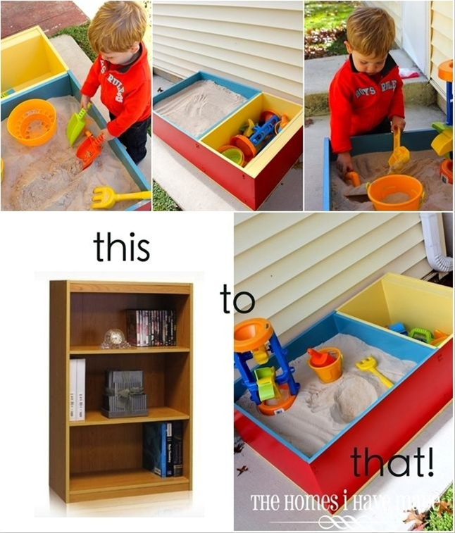 Bookshelf turned sandbox- what a great idea!!