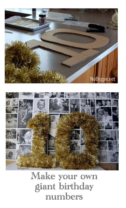 card party decorating idea, you could also just spray paint the numbers and glitter them. That ...