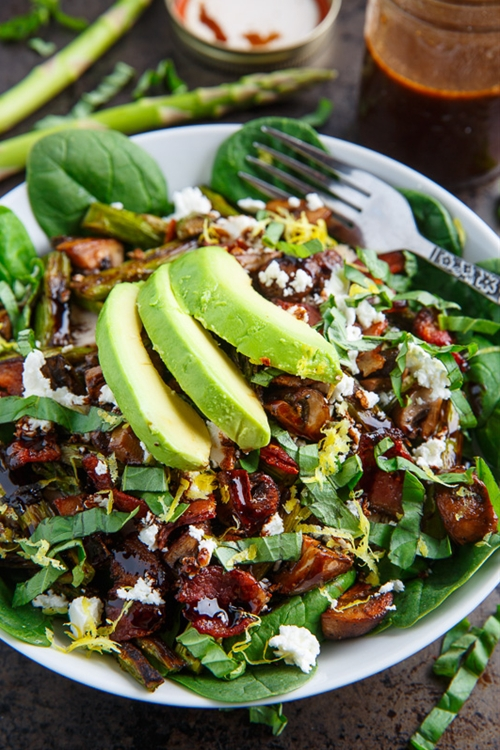 ... and Mushroom Chicken Spinach Salad with Bacon, Avocado and Goat Cheese