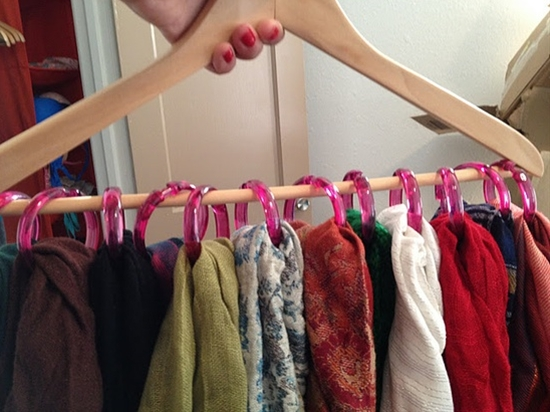 Great find! Put shower rings on a hanger to hold all of your scarves in one place... Genius!