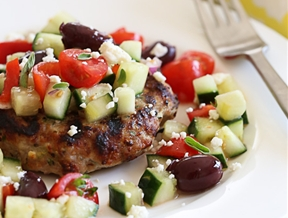 Naked Greek Feta-Zucchini Turkey Burgers