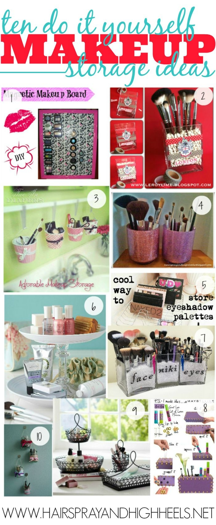 I am always struggling with places to store my makeup, ways to do it. Space savers etc.. I love DIY projects so I wanted to share with you 10 of my favorite DIY Makeup Storage Ideas! So much fun and new ways to keep your makeup stored!