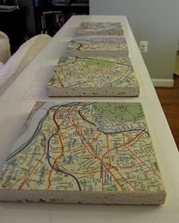 inexpensive idea for gifts.  They wouldn't have to be made from maps.  Think about the wraps, prints, and pictures that would look great holding beverages!