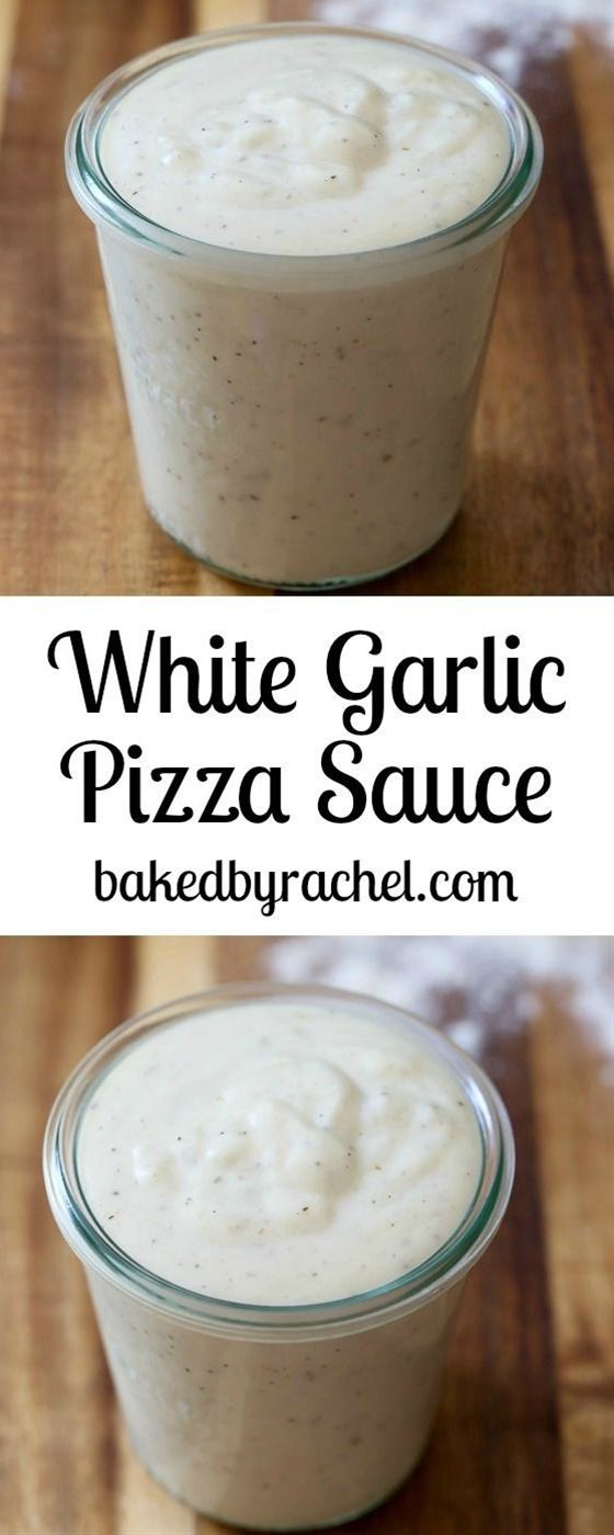 Easy homemade white garlic pizza sauce recipe from @Rachel {Baked by Rachel}