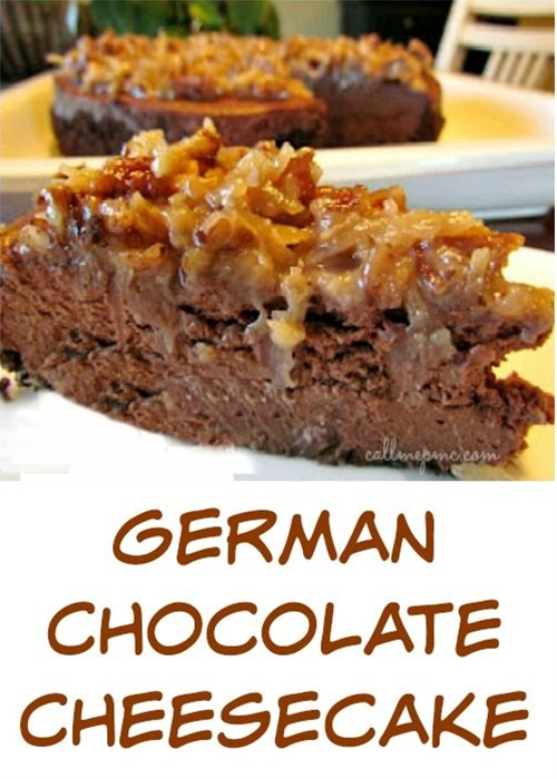 German Chocolate Cheesecake, the crowd-pleasing cake is turned into a luscious cheesecake. Creamy chocolate cheesecake is topped with a rich pecan coconut frosting, making this one very indulgent dessert!