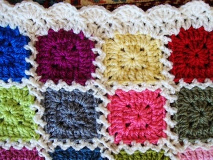 Crochet kaleidoscope granny square pattern w/ border