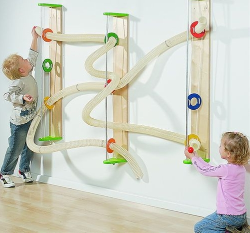 Wall mounted ball run.  This would be great for kids who are too young for the marble runs.