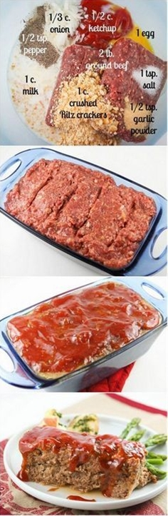 The title is no lie. This is the BEST meatloaf you will ever eat. If you have meatloaf qualms, set them aside and try this!\n\n Ingredients:\n  2 pounds ground beef\n 1 cup crushed Ritz crackers\n 1 egg, beaten\n 1 cup milk\n 1/2 cup ketchup\n 1/3 cup onion, finely chopped\n 1 teaspoon salt\n 1/2 teaspoon black pepper\n 1/2 teaspoon garlic powder\n 3/4 cup ketchup\n 1/4 cup brown sugar\n 1/4 cup apricot preserves\n 1 tablespoon Worcestershire sauce