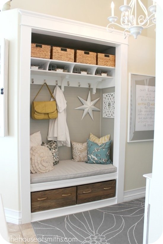 Awesome alternative to the usual coat closet! I'm definitely going to do this!