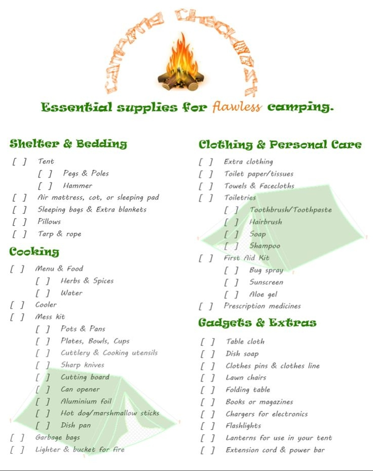 If I don't write things down... I forget. Great place to start... Camping Checklist