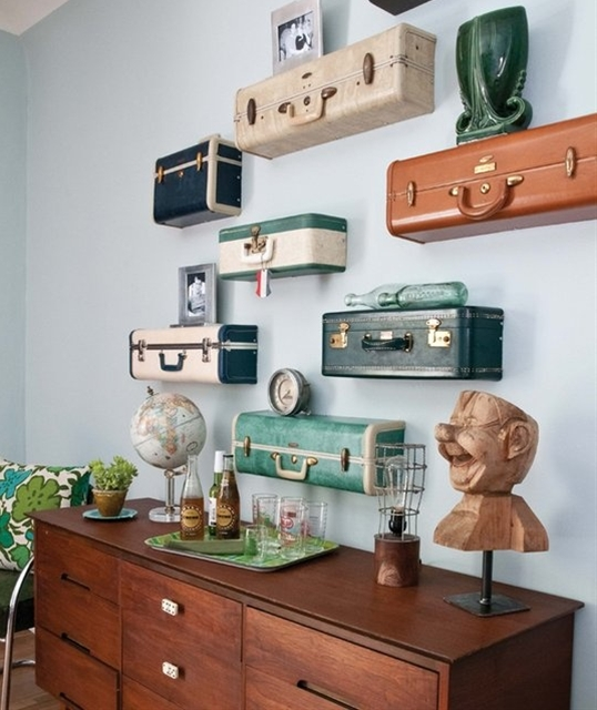 vintage luggage shelving