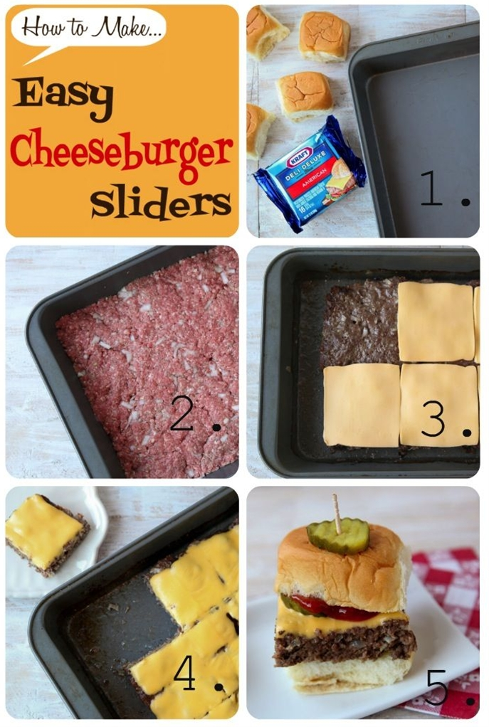 1)  Start with a 9 x 13 pan, your favorite mini buns (I love King's Hawaiian!), and your favorite cheese (I'll take a slice of good 'ol Kraft American),  2)  Combine ground sirloin, breadcrumbs, onion, and salt.  Press into the 9 x 13 pan,  3)  Bake in a 400 degree oven.  (Meat will shrink in from the sides.)  Top with cheese,  4)  Melt cheese and cut into squares,  5)  Add all your favorite toppings and enjoy with friends.