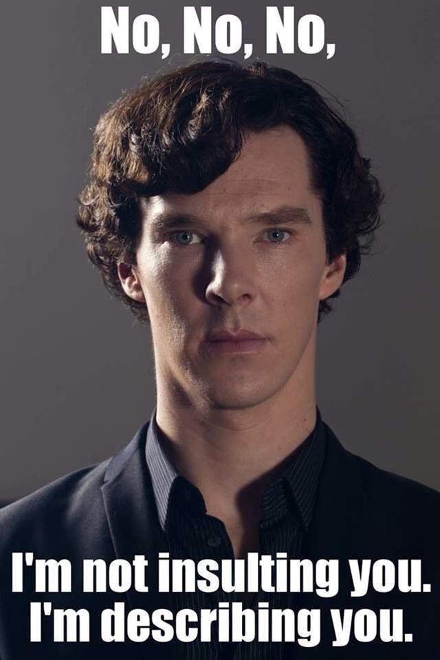 """""""Dear God, what is it like in your funny little brains? It must be so boring!"""" Sherlock"""