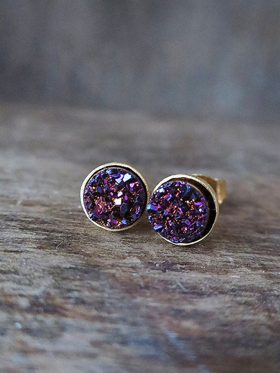Incredibly glittery plum purple 6mm druzies have been encircled by minimal gold vermeil bezels and backed with 14k gold filled posts. Druzies are the tiny snow-like crystals that naturally grow on the surface of stones like chalcedony and quartz. These are the smaller version of my larger druzy studs.   These earrings are ready to ship and come carefully boxed and ready for gift giving. Please note that since these are natural stones, every pair will be slightly different but just as beautiful...