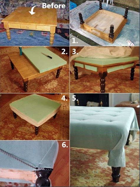 DIY ottoman from coffee table.  This could go so many ways depending on fabrics adn paints and garage sale find base