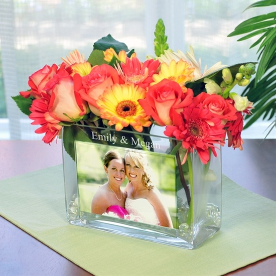 Personalized Glass Photo Vase -I like this for my bridesmaids