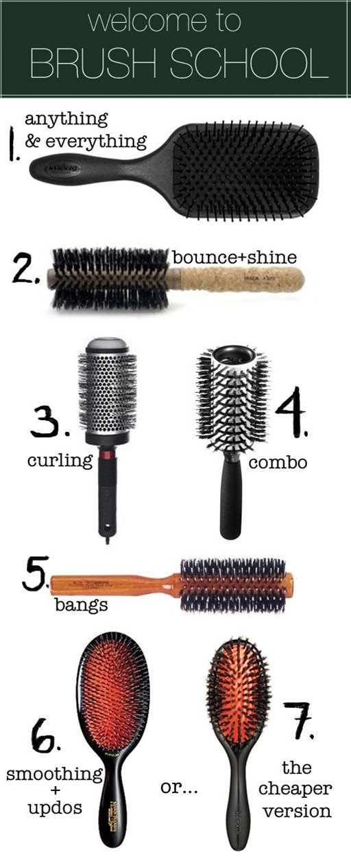#1 The Denman Paddle Brush. You can detangle with it, blow dry with it, massage your head with it, and tease hair with it. It doesn't pull or scratch because of its perfectly rounded nylon pin-bristles, it doesn't cause static, and is padded with an air cushion. On a daily basis, I use it to blow my hair out quickly before I curl it with a curling iron.