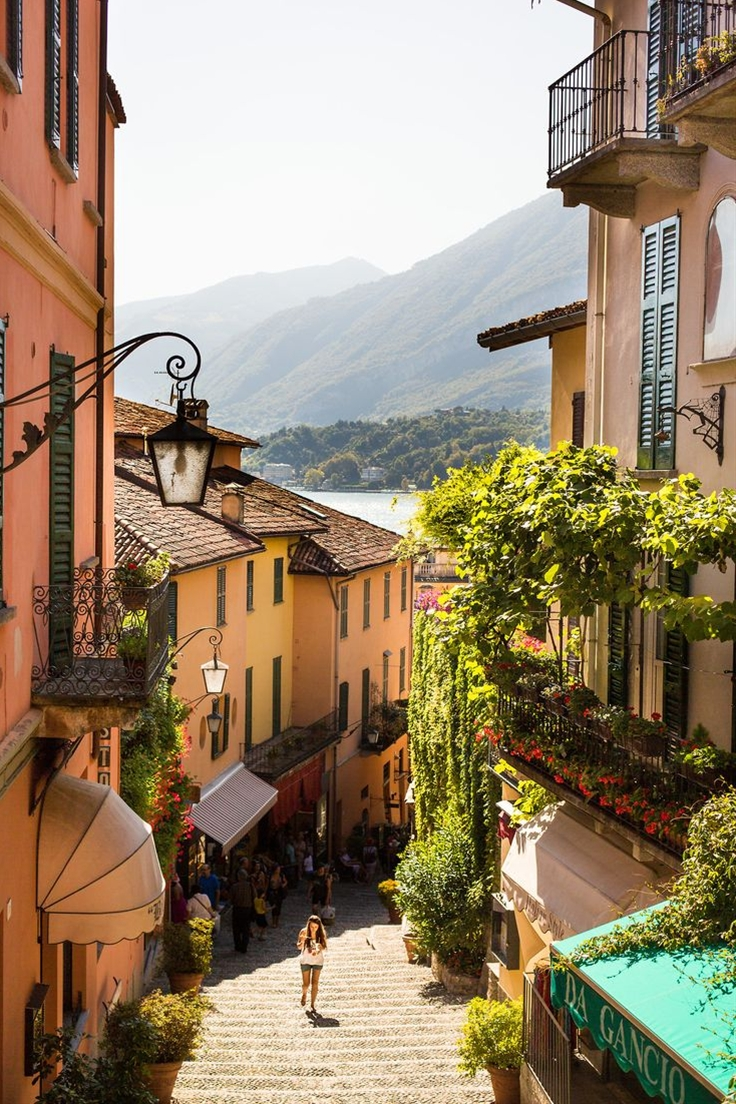 A lovely little street in Bellagio, Italy, on the shores of Lake Como. A wonderful day trip from Milan.