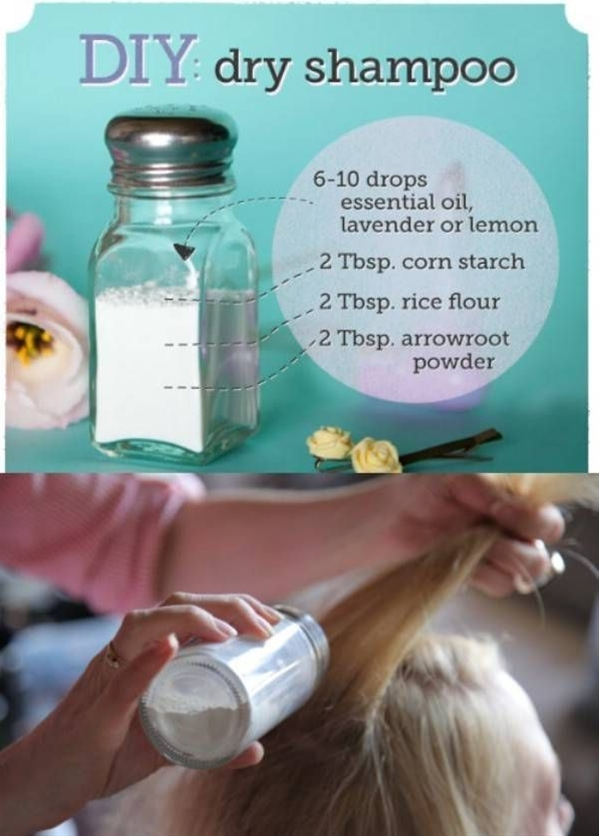 If you wake up late and don't have time for a full shampoo, you can mix your own dry shampoo using just ¼ cup of cornstarch and a few drops of your favorite essential oils. Just apply the mixture to the roots of your hair, comb through and it will keep your hair clean and oil-free for the rest of the day. Note that if you have darker hair, you may want to mix in equal parts of cocoa powder with the cornstarch.