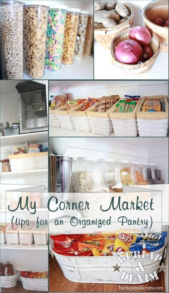 "Pantry Organization. I like my pantry to be ""merchandised"" like a corner store.  When I walk in or glance in at my pantry I want to be drawn in to a neat, clean, well stocked space.  A space to inspire me to whip up a yummy treat or grab a quick snack."