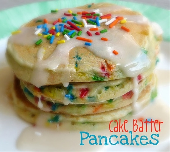 Cake Batter Pancakes!  This is our birthday breakfast tradition! This recipe is perfect for birthdays or special occasions!
