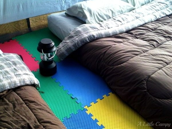 - The rocks don't hurt your feet when you are in the tent. - Our toddler now has a place to crawl (and attempt to walk) around. - The big kids enjoyed putting together the huge foam puzzle.