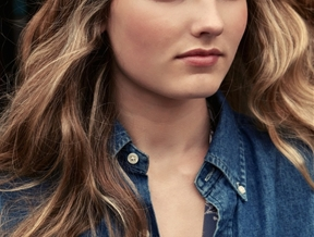 New Face Misty Downs in Denim Looks for Oscar Correcher Shoot