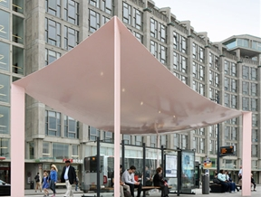 "Pastel-pink bus shelters by Maxwan boast ""world's thinnest steel roofs"""