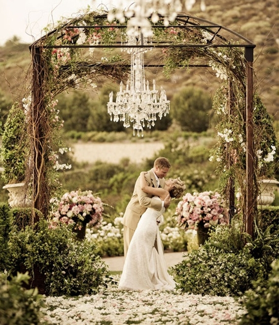 Ceremony Iron Structure.  Chuppah inspiration.  Glass Chandelier.