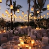 Outdoor wedding reception with beautiful lanterns!
