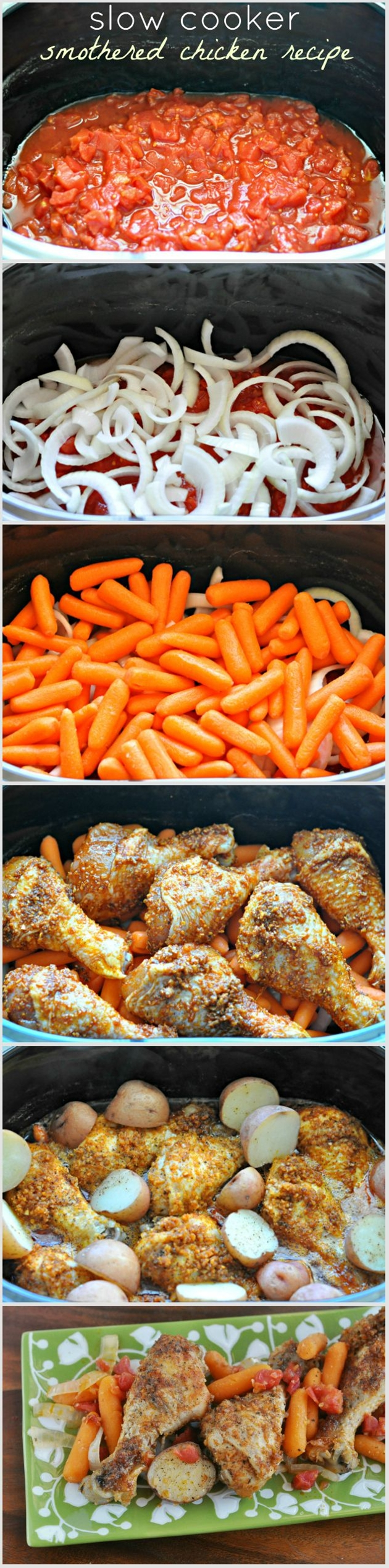 Ingredients:  1 - 28 oz can petite diced tomatoes (Hunt's),  1 large Vidalia onion, sliced,  2 cups baby carrots,  2 packets McCormick Swiss Steak Seasoning,  4 tablespoons olive oil,  ½ teaspoon minced garlic,  6-8 chicken legs.