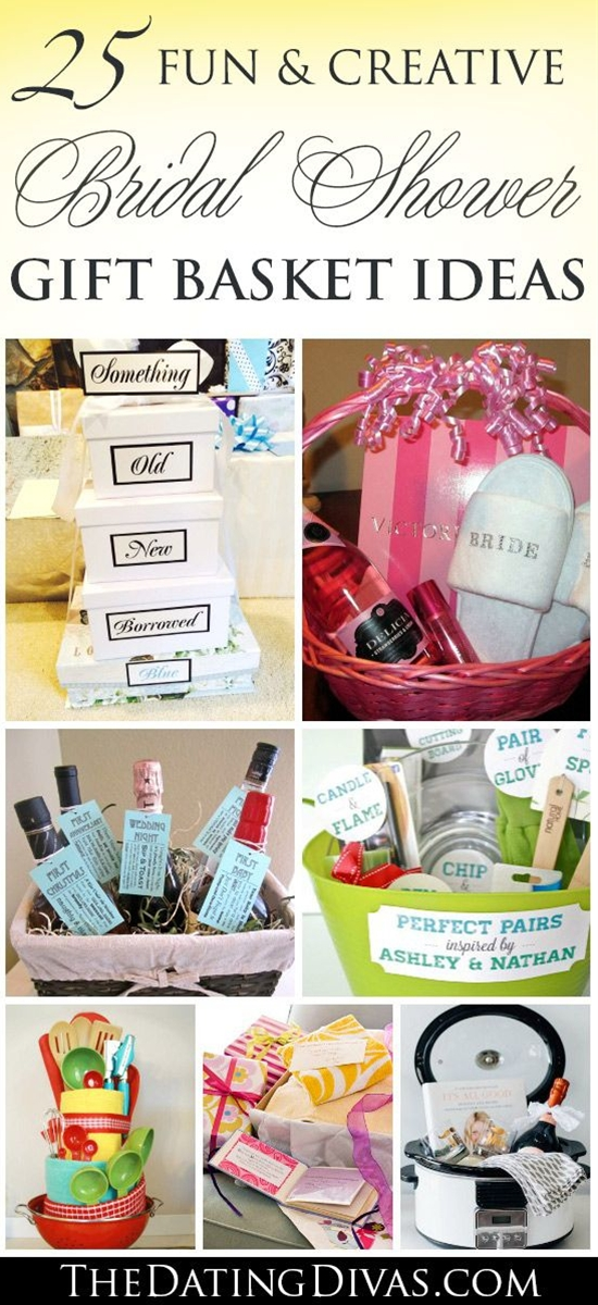 So many fun and creative bridal shower gift basket ideas