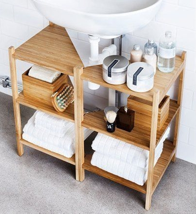 If you have a pedestal sink or wall-mount sink and no cabinets to speak of, there is still hope for you. These RÅGRUND shelves from IKEA are designed to fit around a pedestal sink or the pipe of a wall-mounted sink.