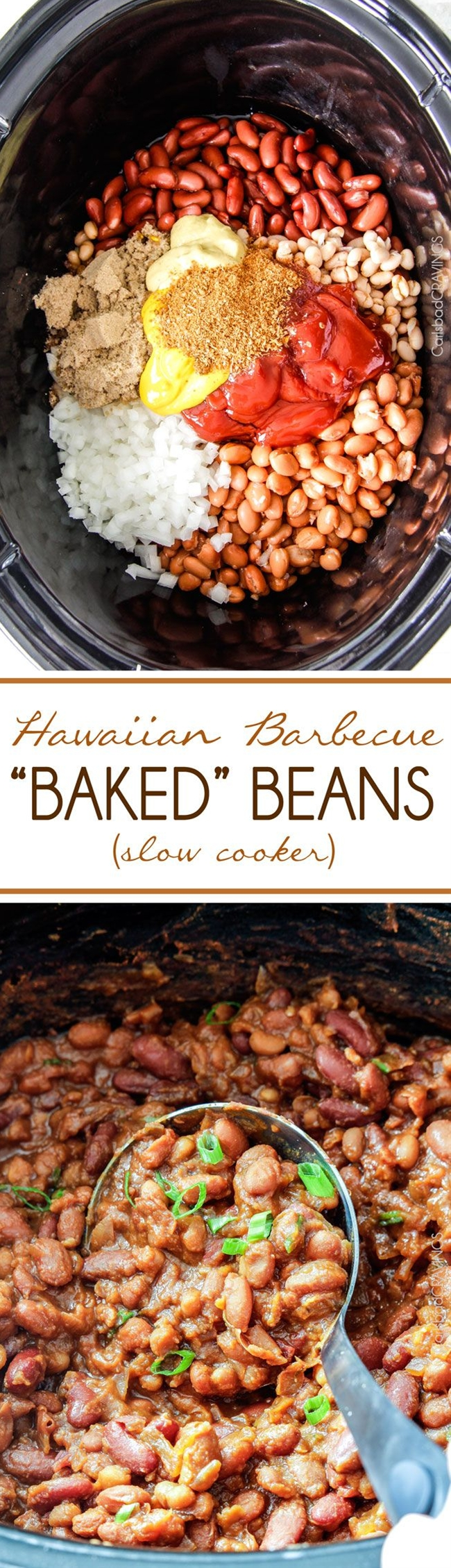 INGREDIENTS: Hawaiian Barbecue Baked Beans,  1 28 oz. can pinto beans, rinsed and drained,  1 15 oz. can white beans, rinsed and drained,  1 15 oz. can light kidney beans, rinsed and drained,  1/2 large sweet onion, diced,  3 garlic cloves, minced,  1/2 cup ketchup,  1/3 cup brown sugar, packed,  1/3 cup molasses,  2 tablespoons white vinegar,  2 tablespoons yellow mustard,  2 tablespoons Dijon mustard,  1 tablespoon Worcestershire sauce,  1 6 oz. can pineapple juice mixed with 1 teaspoon cornstarch,  1 tablespoon Cajun spices.