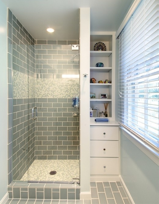 shower tile + built in shelving tucked into corner, great for small space