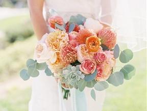 Bouquet Breakdown: Coral Destination Seaside Wedding