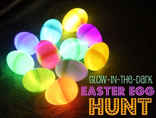 Glow sticks in Easter eggs