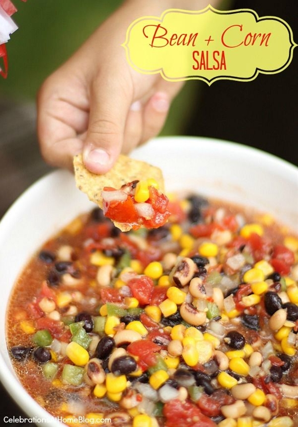 Ingredients: 1 can black-eyed peas – drained & rinsed,  1 can black beans – drained & rinsed,  1 can yellow corn – drained,  1/2 cup chopped onion,  1/2 cup chopped green pepper,  1/4 to 1/2 cup finely chopped jalapeno peppers,  1 can petite diced tomatoes – do not drain,  1/2 teaspoon garlic salt,  1 – 8oz. bottle Italian salad dressing.