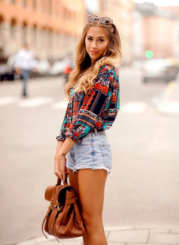 love the shorts, also e colorful top